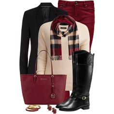 Dark Red Bag and Jeans by snickersmother on Polyvore featuring moda, VILA, Boohoo, Tory Burch, MICHAEL Michael Kors, Kate Spade and Burberry