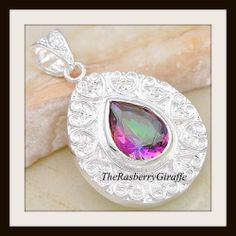 Silver 6ct Enhanced Mystic Rainbow Topaz Necklace. Starting at $8 on Tophatter.com! Save $15 off your winning bid!  Use this link  https://tophatter.com/sign_up?campaign=link-invitation&invitation_id=4bfe2&source=invite  OR copy and paste this code 2BFE4 at check out.