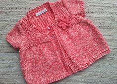Hand Knit Baby Cardigan  Sizes 02 years by JoBundCreations on Etsy, £18.00 - like color - pink speckle yarn