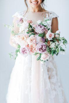 wedding dress and bouquet Whimsical Wedding, Purple Wedding, Elegant Wedding, Floral Wedding, Wedding Colors, Bridal Flowers, Flower Bouquet Wedding, Garden Rose Bouquet, Boquet