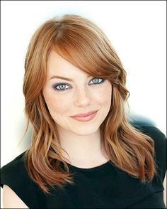 Emma Stone - Shoulder Length and Wavy, Side Swept Bangs