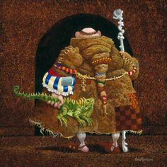 Monk With Iguana Surprise ~ James Christensen