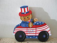 HP Gingerbread Patriotic Car SHELF SITTER hand painted USA