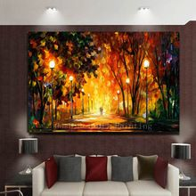 Hand Painted Knife Landscape Oil Painting Hang Paintings Modern Street View Picture For Room Decor Pictures Canvas Painting(China (Mainland))