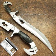 IMPACT CUTLERY RARE CUSTOM D2 ART BOWIE KNIFE BULL HORN FULL TANG