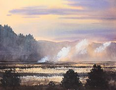"""Smoke Rising from Japanese Rice Fields"" / Watercolor / 31 x 41cm / Oita Japan"
