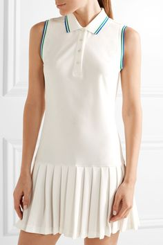 Tory Sport - Pleated Piqué Tennis Dress - White -