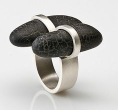 "Ring | Sandra Enterline.  ""Hommage to Margaret De Patta"".  Sterling silver with river pebbles."