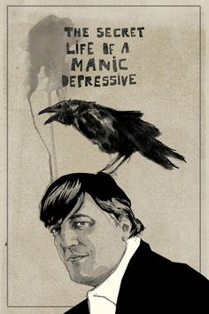Mark Dickson-Stephen Fry / Documentary: The Secret Life of a Manic Depressive Graphic Design Illustration, Illustration Art, Quoth The Raven, Dark Wings, Raven Art, Jackdaw, Crows Ravens, Secret Life, Caricatures