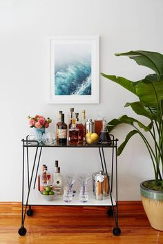 simple black bar cart - Inside Adrienne Moore of Orange Is The New Black's Home | Domino
