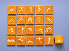 Matchboxes, 1972 Munich Olympics - Otl Aicher created the sports pictograms which later became the universal standard. i love how they capture movement!