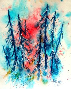 New Age Watercolor of Trees By Colorado Artist by MarthaKislingArt