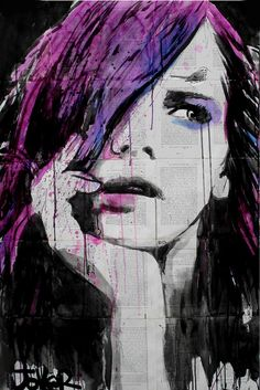 """Loui Jover; Pen and Ink 2013 Drawing """"violets dream"""""""