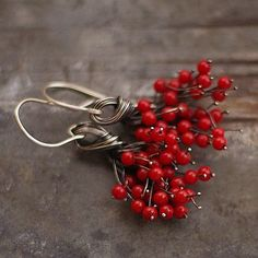earrings made of oxidized sterling silver (925/999) and red coral, signed, © ewa lompe D E T A I L S: total length +/- 5.2 cm / 2.1 coral - 0.4 cm / 0.16 *This item is made to order, please about 3-5 business days for production. Please be aware that each earring is made by hand and so there will be slight variations in each piece. The earrings you receive will be similar but not identical to the photo. S H I P P I N G : All objects are carefully wrapped in a bubble wrap and a box or i...