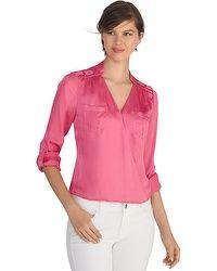 Long Sleeve Surplice Pink Blouse