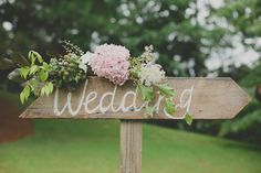 Rustic 'Wedding' Sign and Flowers - a great DIY decoration - Photo by Ryder Evans