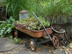 Gardening With Grace: Vintage Garden Stuff. Love the old wagon potted w/flowers. Rusty Garden, Garden Junk, Garden Tools, Garden Ideas, Garden Gate, Garden Crafts, Patio Ideas, Landscaping Ideas, Backyard Landscaping
