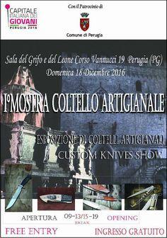 A Perugia la prima Mostra di coltelli artigianali