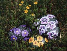 Flower rock painting