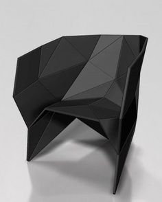 furniture chair ORIC - black modern chair inspired by Polyhedron Origami Chaise Origami, Origami Chair, Origami Furniture, Cool Furniture, Modern Furniture, Furniture Design, Furniture Stores, Geometric Furniture, Baker Furniture