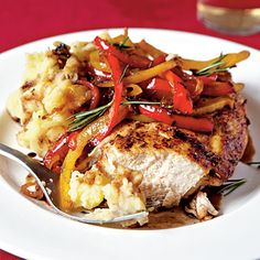 Roast Chicken with balsamic bell peppers. Yum! Cooking light