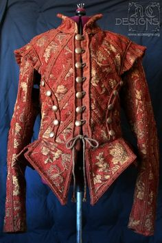 17th century reproduction, red brocade doublet by AC Designs - with sleeves