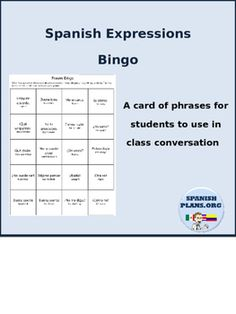 Give students a bingo card of 20 useful Spanish Expressions that they can use during class. This encourages students to keep the conversation of the class flowing in English by being able to expression their opinion in Spanish.This editable template allows you to choose your own expressions or use the 20 that are included.