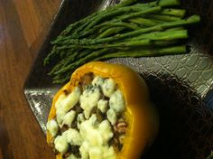 Dinnertime!  Stuffed Bell Peppers & Asparagus. (Stuffing: Guacamole, Mushroom, Onion, Shrimp & Topped with Gorgonzola Crumbs)