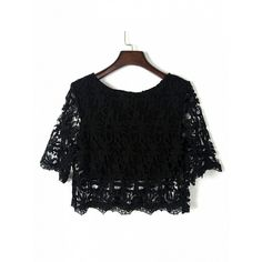 Choies Black Half Sleeve Lace Crochet Cropped Top (382.815 IDR) ❤ liked on Polyvore featuring tops, black, lace top, half sleeve top, elbow sleeve tops, lacy tops and lace crop top