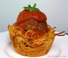 Emily Bites - Weight Watchers Friendly Recipes: Spaghetti & Meatball Cups - This is probably the best and cutest way to eat spaghetti that I've ever seen. Genius!