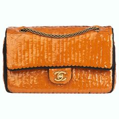 d1b3b3812404cf 2010 Chanel Black Satin and Orange Sequin Paris-Shanghai Medium Classic
