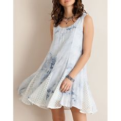 """Silences of Love"" Tie Dye Tank Dress Tank dress with ruffle lace accents and light blue tie dye. Only available in this color. NO TRADES. Brand new. True to size but a loose fit. Bare Anthology Dresses Mini"