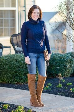 Wearable Winter Outfit Ideas For Women Over 40: Navy Turtleneck with Chestnut OTK Boots