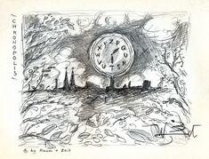 "Chronopolis, ca. 1982 by J.G.Wind - Illustration zu J.G.Ballard's Erzäjlung ""Chronopolis"""