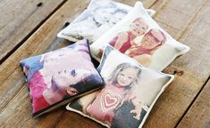 For Your / your Boyfriend's Mom... customized picture items, shown here as beanbags; could be a pillow or show-towel for the kitchen; bonus points if you can make different ones for different seasons (i.e. Christmas, birthday, beach/summer holiday, yada yada)