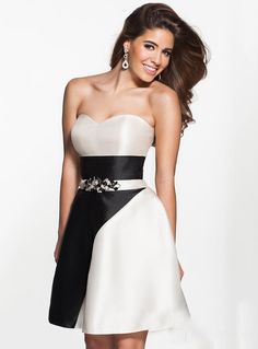 ihomecoming.com SUPPLIES Elegant Sweetheart Beaded Waist A-Line Short Black and White Homecoming Dress Elegant