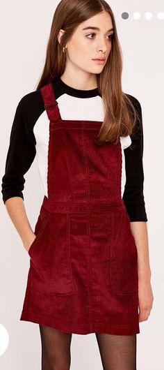 Corduroy pinafore red dress