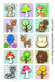 1x1 inch square jpg Forest Digital Collage Sheet for Magnets, Tile Pendants Supplies Scrapbook