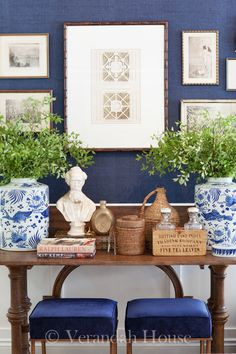 Shades of indigo mixed with blue and white accents come to life with a pop of green. Verandah House