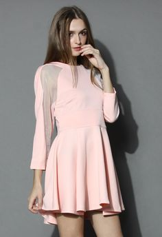 Organza Panel Dress in Pink