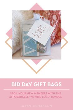 Spoil your new members this recruitment with the Newbie Love bundle! Gift bag includes a sorority decal, hair tie set, and button set. Kappa Delta Gifts | Kappa Delta Bid Day | KD New Member Gifts | Kaydee Rush Gift Bags | Kappa Delta Recruitment | Sorority Bid Day | Sorority Recruitment | Bid Day Bags | Sorority New Member Gift Ideas #BidDayGifts #SororityRecruitment Sorority Bid Day, Sorority Recruitment, Sorority Gifts, Kappa, Alpha Sigma Alpha, Alpha Delta, Bid Day Gifts, Letter Decals, Bid Day Themes