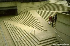 Barrier free stairs. Described as modern but they remind me of ancient Mediterranean architecture. Robsonsquare-Arthur C. Erickson by StudioNOV, via Flickr. Vancouver, BC, Canada.