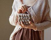 Simple Crochet Clutch -Greyish Beige