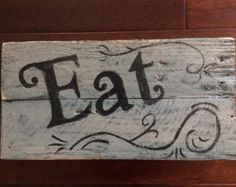 EAT Kitchen sign wood Mother's Day gift home by CraftsByJoyice