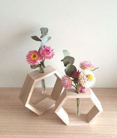 Fun way to add a geometric shape to a room! Timber Bud Vase by One White Sunday on Etsy, $24.95