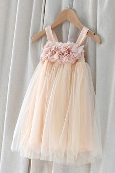 Tulle Flower Girl Dress with Chiffon Flowers-Infant Shoulder Strap Dress-Baptism  Dress-Pastel Dress-Princess Dress-Light Peach Wedding Dress 71ff14174b26