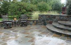 Newsletter   Environmental Enhancements, Inc. Bluestone Patio, Flagstone, Patio Ideas, Landscaping Ideas, Backyard Ideas, Tudor Style Homes, Iron Furniture, Outdoor Living, Outdoor Decor