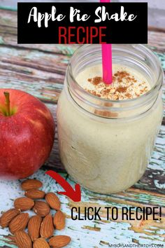Im Really Digging This Apple Pie Protein Shake Recipe And Wanted To Share It With All Of You It's A Quick And Easy Breakfast Option For Busy Mornings, Or Great Afternoon Snack For The Kids. Morning Protein Shake, Healthy Protein Shakes, Protein Shake Recipes, Yummy Smoothie Recipes, Dessert Recipes, Apple Shake Recipe, Healthy Food Options, Healthy Recipes, Easy Recipes