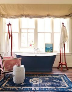 interior, garden stools, blue, bathtub, bathrooms, bathroom designs, hous, rugs, decorating tips