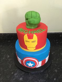Superhero cake with captain America, hulk and ironman